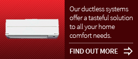 Ductless unit on a red background button