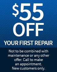 Blue image with text - $55 off your first repairs