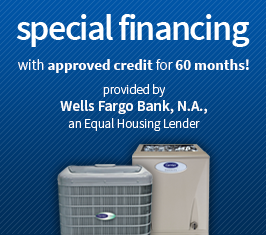 Central air conditioning units on blue background with text for financing